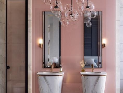 """Дизайн интерьера частного интерьера в Брянске """"Розовые стильные ванные комнаты"""""""